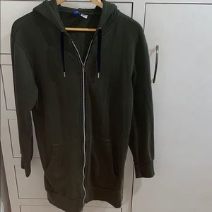 Olive green longline sweater with hoodie fall wear